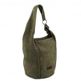 イタリア製スウェードのワンショルダーバッグ TL BAG、グリーン、詳細1