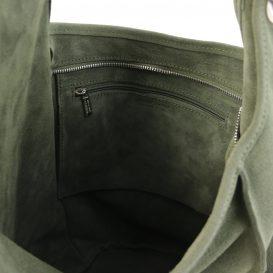 イタリア製スウェードのワンショルダーバッグ TL BAG、グリーン、詳細2