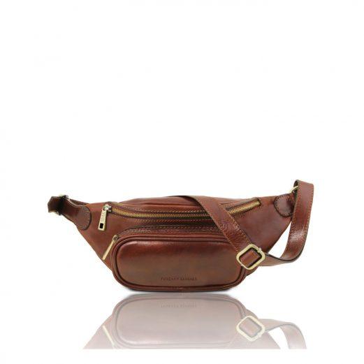 イタリア製ベジタブルタンニンレザーのウェストバッグ、ブラウン