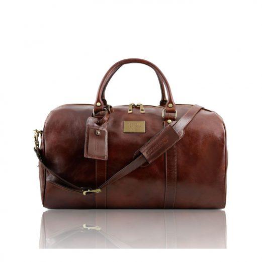 イタリア製ベジタブルタンニンレザーのボストンバッグ裏ポケットつきTL VOYAGER(Lサイズ)、ブラウン