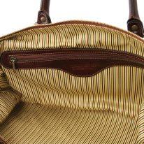 イタリア製ベジタブルタンニンレザーのボストンバッグ裏ポケットつきTL VOYAGER(Lサイズ)、詳細5