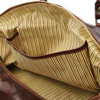 イタリア製ベジタブルタンニンレザーのボストンバッグ裏ポケットつきTL VOYAGER(Lサイズ)、詳細6