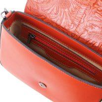 イタリア製フローラル模様レザーの2WAYバッグ NAUSICA、ブランデー、詳細2
