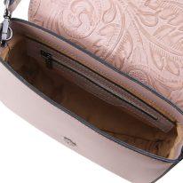 イタリア製フローラル模様レザーの2WAYバッグ NAUSICA、ヌード、詳細2