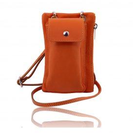 イタリア製本革のスマートフォン・ミニショルダーバッグTL BAG 、オレンジ