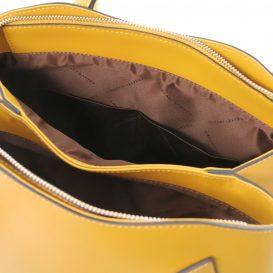 イタリア製ルーガ・カーフレザーの2WAYハンドバッグ FLORA、マスタード、詳細3