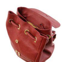 イタリア製シボ型押しレザーのフロントポケット・リュックTL BAG、レッド、詳細4
