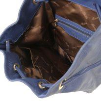 イタリア製シボ型押しレザーのフロントポケット・リュックTL BAG、ダークブルー、詳細3