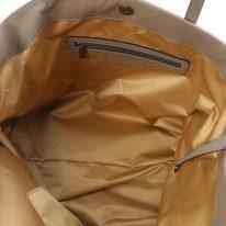 イタリア製シボ型押しレザーのスタッズつきトートバッグ TL BAG、ダークトープ、詳細3