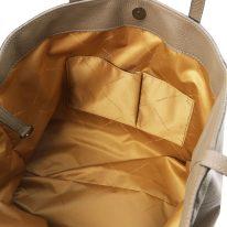 イタリア製シボ型押しレザーのスタッズつきトートバッグ TL BAG、ダークトープ、詳細4