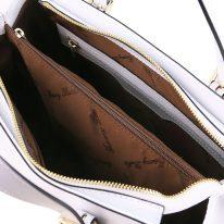 イタリア製スムースレザー2WAYハンドバッグ AURA、ホワイト、詳細2