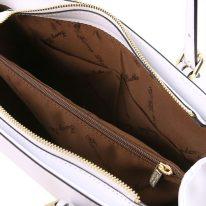 イタリア製スムースレザー2WAYハンドバッグ AURA、ホワイト、詳細3