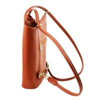 イタリア製サフィアーノレザー・リュック&ショルダー2way バッグ PATTY、ブランデー、詳細3