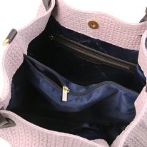 イタリア製イントレチャート編み込み風スウェードのトートバッグ(小)ライラック、詳細2