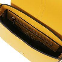 イタリア製スムースレザー2WAYバッグ NAUSICA 、マスタード、詳細3
