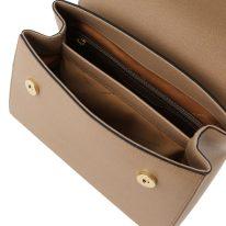 イタリア製サフィアーノレザーの2WAYハンドバッグ、キャラメル、詳細1