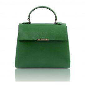 イタリア製サフィアーノレザーの2WAYハンドバッグ、グリーン