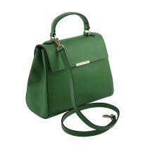 イタリア製サフィアーノレザーの2WAYハンドバッグ、グリーン、詳細1