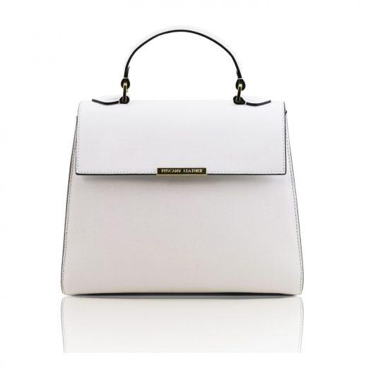 イタリア製サフィアーノレザーの2WAYハンドバッグ、ホワイト
