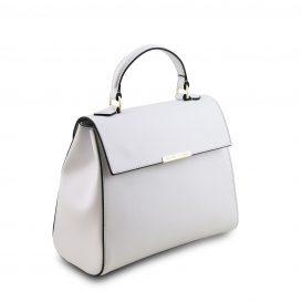 イタリア製サフィアーノレザーの2WAYハンドバッグ、ホワイト、詳細1