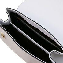 イタリア製サフィアーノレザーの2WAYハンドバッグ、ホワイト、詳細3