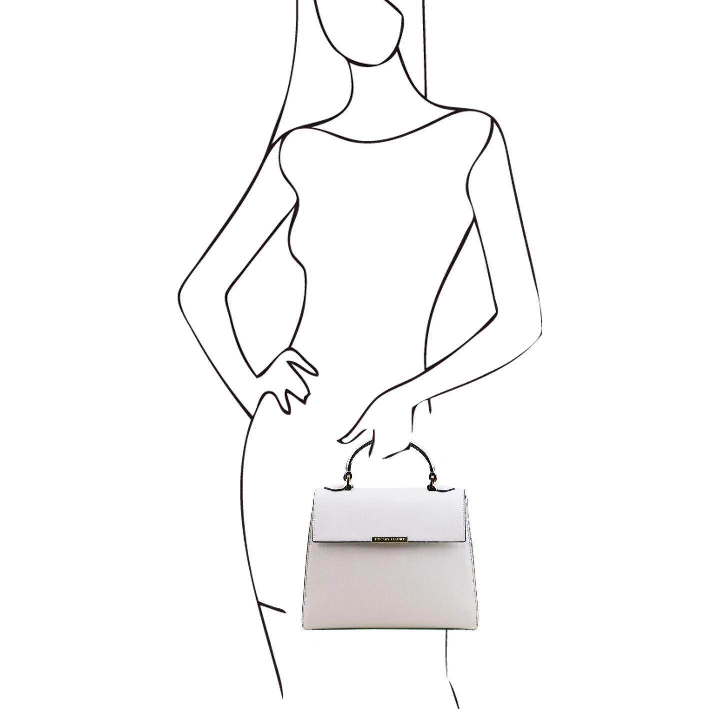イタリア製サフィアーノレザーの2WAYハンドバッグ、ホワイト、詳細5