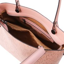イタリア製フローラル模様のカーフレザー2WAYトートバッグ ATENA、ヌード、詳細3