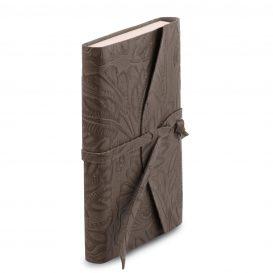 イタリア製フローラル模様レザーカバーのノート、グレー、詳細1
