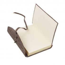イタリア製フローラル模様レザーカバーのノート、グレー、詳細3