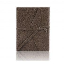 イタリア製フローラル模様レザーカバーのノート、グレー