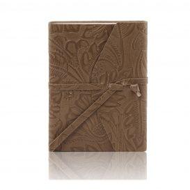 イタリア製フローラル模様レザーカバーのノート、ダークトープ