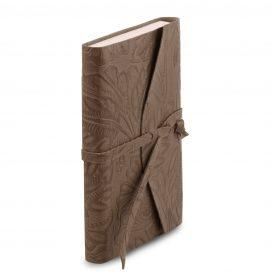 イタリア製フローラル模様レザーカバーのノート、ダークトープ、詳細1