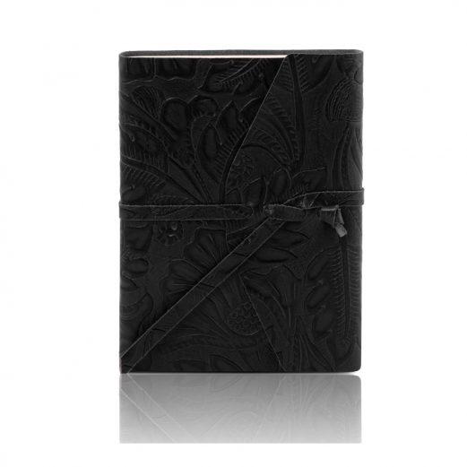 イタリア製フローラル模様レザーカバーのノート、ブラック