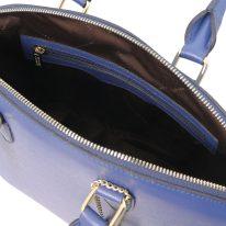 イタリア製フィアーノレザー2WAYトートバッグ Mサイズ TL KeyLuck、ブルー、詳細3