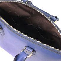 イタリア製フィアーノレザー2WAYトートバッグ Mサイズ TL KeyLuck、ブルー、詳細4