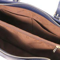 イタリア製スムースレザーのツーウェイハンドバッグ、ダークブルー、詳細4