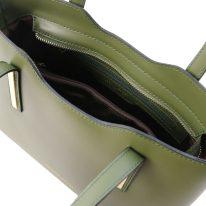 イタリア製スムースレザー2WAYトートバッグSサイズ OLIMPIA、オリーブグリーン、詳細3