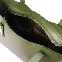 イタリア製スムースレザー2WAYトートバッグSサイズ OLIMPIA、オリーブグリーン、詳細4