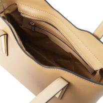 イタリア製スムースレザー2WAYトートバッグSサイズ OLIMPIA、シャンパーニュ、詳細3