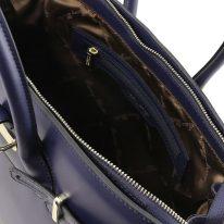 イタリア製スムースレザーのエレガントなハンドバッグ ELETTRA、ダークブルー、詳細4