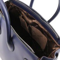 イタリア製スムースレザーのエレガントなハンドバッグ ELETTRA、ダークブルー、詳細5