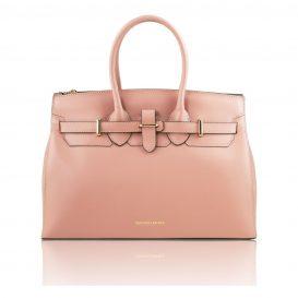 イタリア製スムースレザーのエレガントなハンドバッグ ELETTRA、ピンク