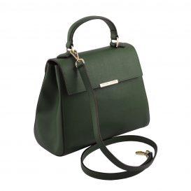 イタリア製サフィアーノレザー2WAYハンドバッグ TL BAG、フォレストグリーン、詳細1