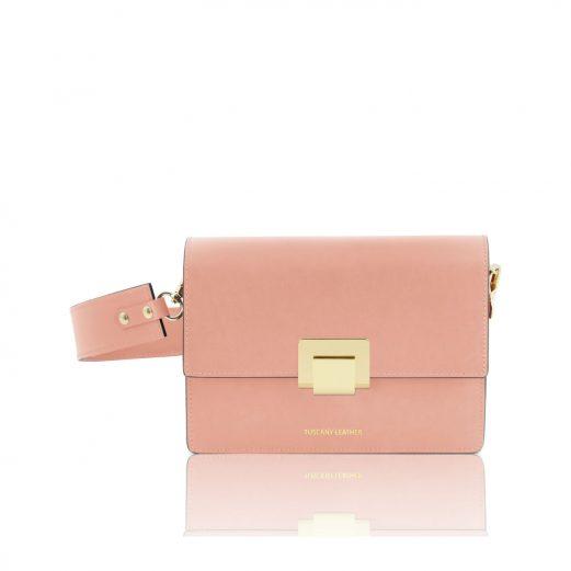 イタリア製スムースレザーショルダーバッグ ADELE、ピンク