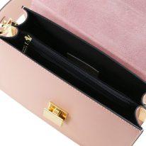 イタリア製スムースレザーショルダーバッグ ADELE、ピンク、詳細3