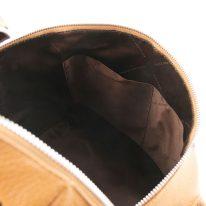 イタリア製シボ加工レザーのスタッズストラップつきリュック TL BAG、コニャック、詳細2