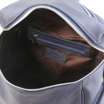 イタリア製シボ加工レザーのスタッズストラップつきリュック TL BAG、ダークブルー、詳細1
