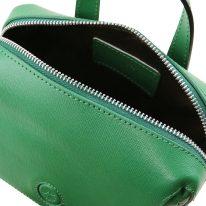 イタリア製サフィアーノレザー3WAYハンドバッグ DALIA、グリーン、詳細3