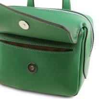イタリア製サフィアーノレザー3WAYハンドバッグ DALIA、グリーン、詳細4