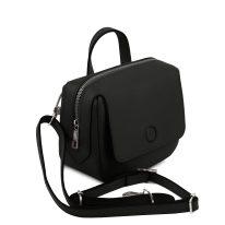 イタリア製サフィアーノレザー3WAYハンドバッグ DALIA、ブラック、詳細1